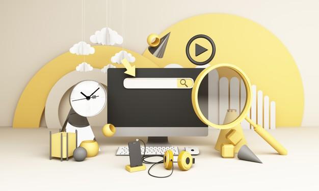 barra-busqueda-informacion-rodeada-electronica-relojes-computadoras-forma-geometrica-telefonos-lupa-3d-render_156429-1719